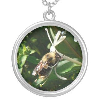 La madreselva manosea la abeja collar plateado