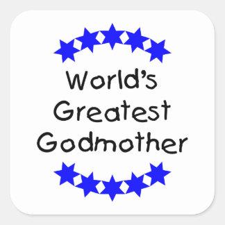 La madrina más grande del mundo (estrellas azules) pegatina cuadrada