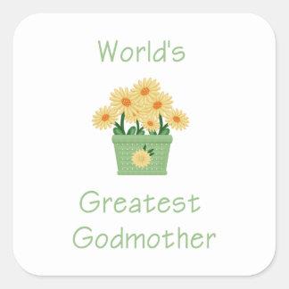 La madrina más grande del mundo (flores amarillas) pegatina cuadrada