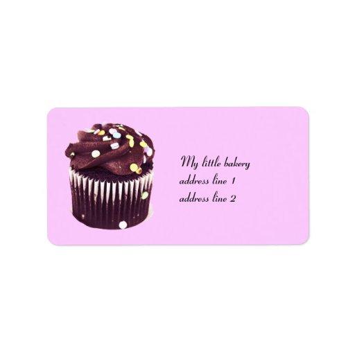 la magdalena del chocolate con asperja la etiqueta etiqueta de dirección