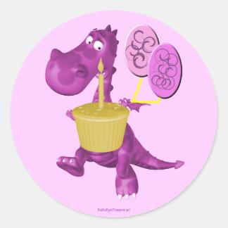 La magdalena púrpura del dragón hincha al pegatina
