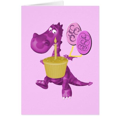 La magdalena púrpura del dragón hincha la tarjeta