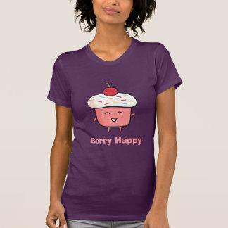La magdalena rosada con la cereza es baya feliz camiseta