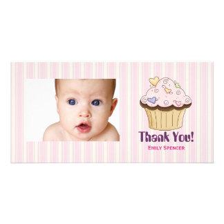 La magdalena rosada le agradece las tarjetas de la tarjeta fotografica personalizada