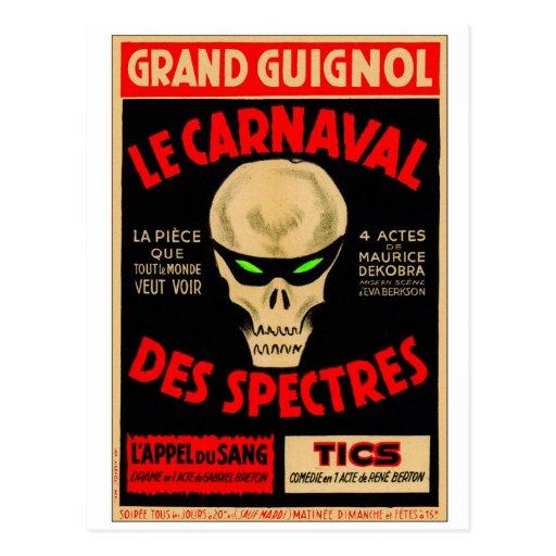 La magnífico Caranval de Guignol del kitsch retro Postales