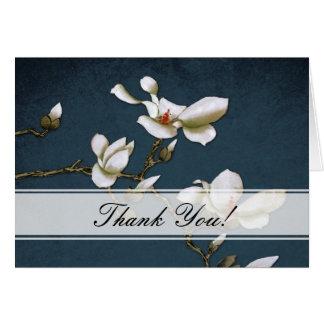 La magnolia azul y blanca le agradece cardar tarjeta de felicitación