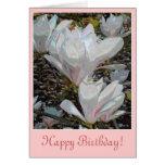 La magnolia blanca florece tarjeta de cumpleaños