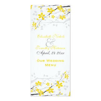 La magnolia florece la tarjeta amarilla, gris del invitación 10,1 x 23,5 cm