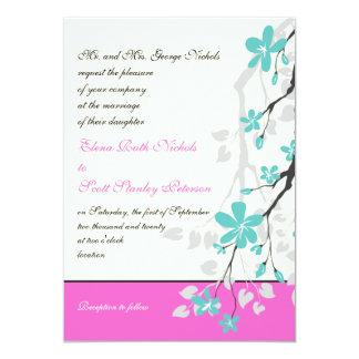 La magnolia florece la turquesa, boda de las rosas invitaciones personales