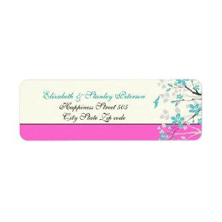 La magnolia florece la turquesa, etiqueta del boda etiqueta de remitente
