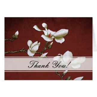 La magnolia roja y blanca le agradece cardar tarjeta de felicitación