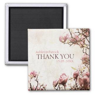 La magnolia romántica del vintage le agradece favo imán cuadrado