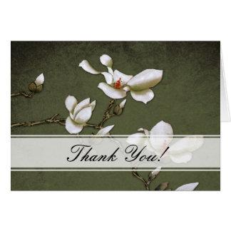 La magnolia verde y blanca le agradece cardar tarjeta de felicitación