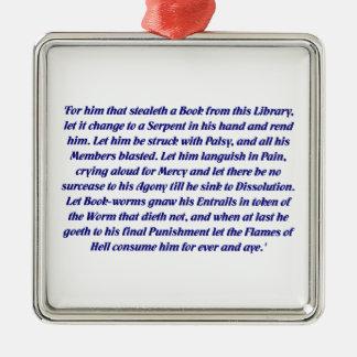 La maldición del libro adorno navideño cuadrado de metal