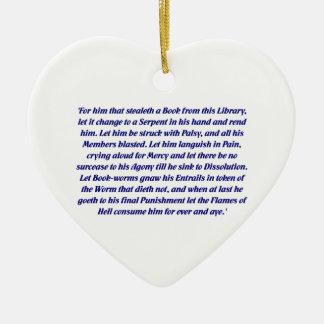 La maldición del libro adorno navideño de cerámica en forma de corazón