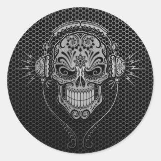La malla de acero DJ azucara el cráneo Pegatina Redonda