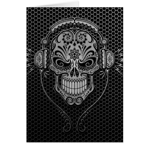 La malla de acero DJ azucara el cráneo Tarjeta De Felicitación