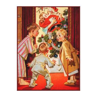 La mamá besa a Papá Noel Impresión En Lienzo