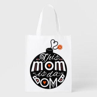 La mamá caprichosa DA bombardea tipografía moderna Bolsa Para La Compra