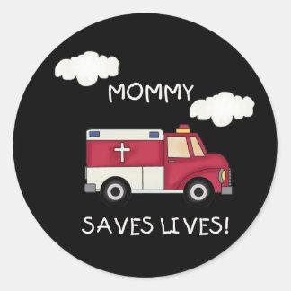 La mamá de EMT ahorra vidas Pegatina Redonda