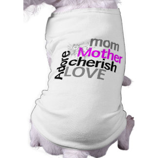 La mamá de la tipografía acaricia la flor púrpura playera sin mangas para perro