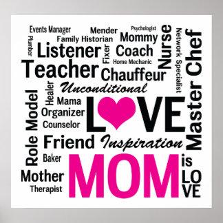 La mamá es amor - trabajos múltiple Hacer-él-Todo Póster
