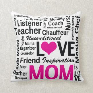 La mamá es día rosado y negro del amor de madre cojín