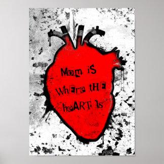 la mamá es donde está el corazón anatómico póster