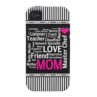 La mamá es regalo del día de madre del amor para iPhone 4 carcasas
