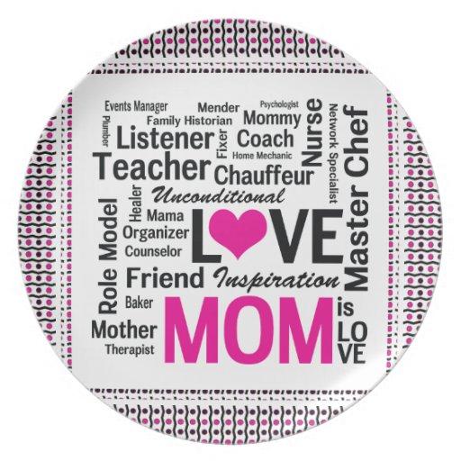 La mamá es regalo del día de madre del amor para l platos para fiestas