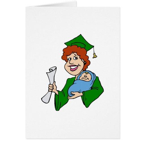 La mamá gradúa verde tarjeta de felicitación