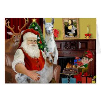 La mamá Llama y bebé de Santa Tarjeta De Felicitación