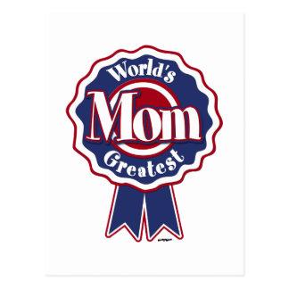 La mamá más grande Blue Ribbon de los mundos Tarjeta Postal