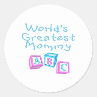 La mamá más grande de los mundos pegatina redonda