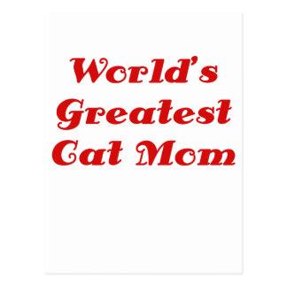 La mamá más grande del gato de los mundos tarjeta postal
