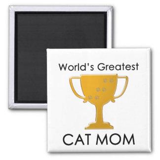 La mamá más grande del gato del mundo imán cuadrado