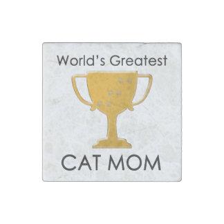 La mamá más grande del gato del mundo imán de piedra