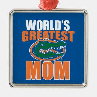 La mamá más grande del mundo adorno cuadrado plateado