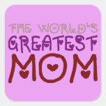 La mamá más grande del mundo (el día y el pegatinas cuadradas personalizadas