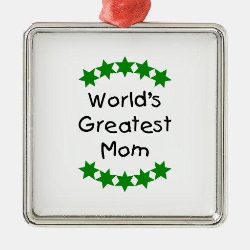 La mamá más grande del mundo (estrellas del verde) adorno navideño cuadrado de metal