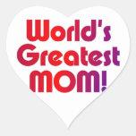 La mamá más grande del mundo pegatina corazón