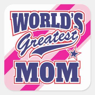La mamá más grande del mundo pegatina cuadrada