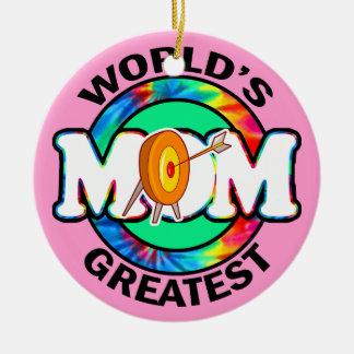 La mamá más grande del mundo; Tiro al arco Adorno Navideño Redondo De Cerámica