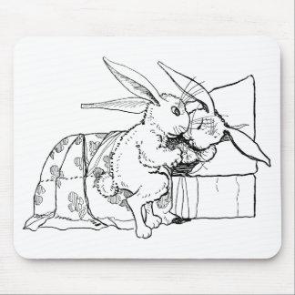 La mamá pone el conejo joven para acostar tapete de ratón