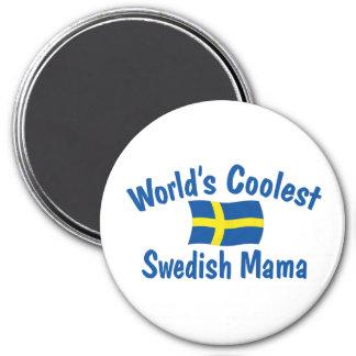 La mamá sueca más fresca imán redondo 7 cm