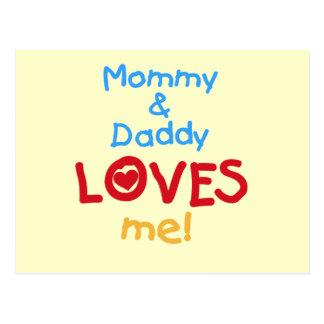 La mamá y el papá me ama las camisetas y los postal