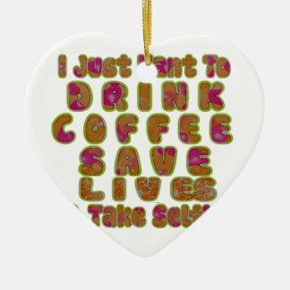 La mañana I apenas quiere beber vidas de la Adorno Navideño De Cerámica En Forma De Corazón