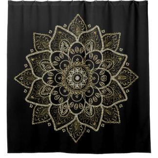 La mandala adornada en oro y los diamantes brillan cortina de baño