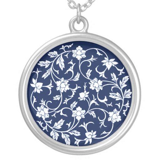 La mandala china antigua florece el azul y el blan grimpola personalizada
