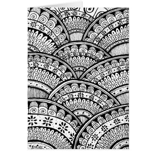La mandala india del damasco blanco y negro le tarjeta pequeña